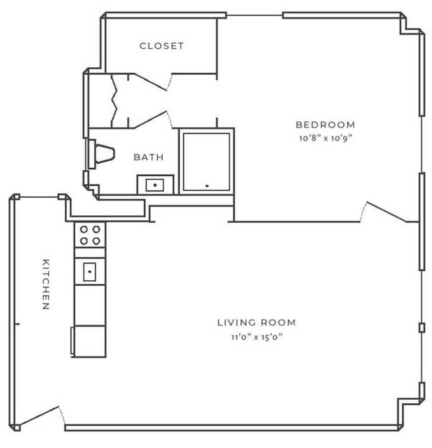 The Oliver on LaSalle One Bedroom 868x900